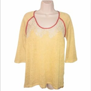 Gimmicks by BKE  Sz S Top Sheer Lace Gold Shirt